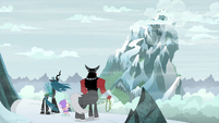 Chrysalis, Cozy, and Tirek facing the summit S9E8