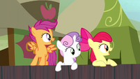 Cutie Mark Crusaders look at Trouble Shoes S5E6