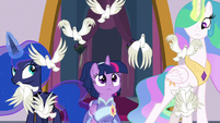 Doves fly out from behind Twilight S9E26