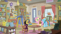 Fluttershy, RD, and Yearling in bookstore S9E21