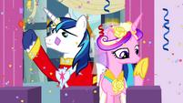 Princess Cadance and Shining Armor on balcony S2E26