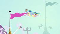 Rainbow flying high over Canterlot Castle S9E4
