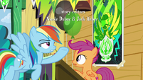 Rainbow points at Scootaloo's Washouts poster S8E20