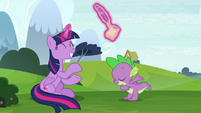 Twilight claps her hooves for Spike S8E24