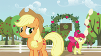 Apple Bloom balances a tower of bowling pins on her nose S5E17