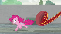Pinkie Pie runs from the red carpet S9E14