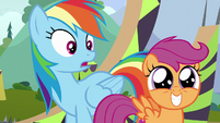 Rainbow shocked; Scootaloo with wide-eyed grin S8E20