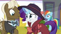 Rarity straightens Random Pony's bowtie S9E4