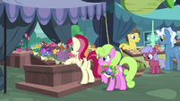 Rose and Daisy selling flowers in marketplace S9E18