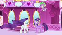 Spike blowing on Rarity's mane MLPS1