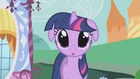 Twilight's eyes glazed when she sees Applejack's food S1E03