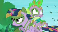 Twilight continues running; changelings chase her and Spike S5E26