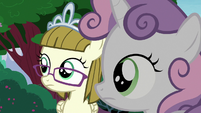 Zipporwhill and Sweetie Belle hear Rarity's voice S7E6