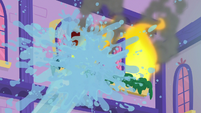 Flames getting doused with water S8E21