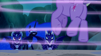 Nightmare Moon and guards see Twilight gets sucked into a portal S5E26