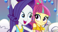 Rarity puts an arm around Sour Sweet EGS1