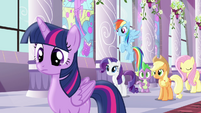 Rest of mane six looking at Pinkie S4E01
