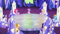 Starlight and ponies look toward Rainbow Dash S6E25