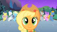Applejack in front of Fluttershy S01E26