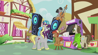 DJ and Octavia about to crash into Button, Hughbert, and Dance Fever S5E9
