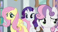 Fluttershy and Rarity appear beside Sweetie Belle S8E12