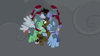 Legionnaires hugging and praising Flash Magnus S7E16