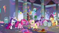 Mane Six cleaning up the party mess S9E7
