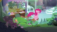 Pinkie trotting into Maud's house S8E3