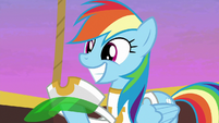 Rainbow Dash with a wide happy grin S8E5