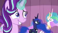 Starlight grinning awkwardly; Celestia nodding S6E2