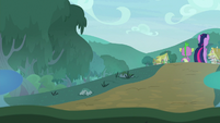 Twilight and Spike leaving the forest S9E18