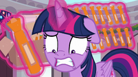 Twilight looking distressed at Spike S9E3