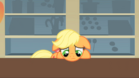 Applejack disappointed because Mr. Cake took the food before she could eat anything S1E22
