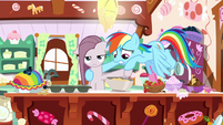 Rainbow guiding Pinkie's hoof in the cake bowl S8E18
