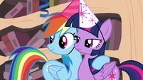 Rainbow with hoof around Twilight S4E04
