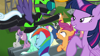 Scootaloo gets high hoof from Rolling Thunder S8E20