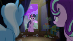 Trixie and Starlight look at an angry Twilight S6E6.png