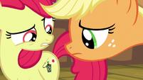 Applejack looks at Apple Bloom's cutie mark S5E04