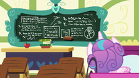 Flurry Heart looking at the chalkboard S7E3