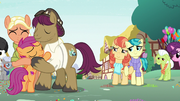 Holiday and Lofty watch Scootaloo hug her parents S9E12.png