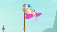 Rainbow carrying Fluttershy through the air S9E4