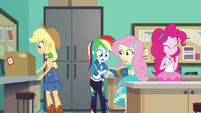 AJ, RD, Fluttershy, and Pinkie work on the yearbook EGFF
