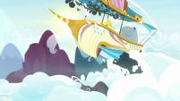 Airship rising above the clouds S7E22