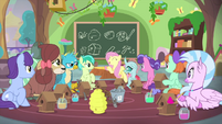 Fluttershy tells students to clean up MLPS3