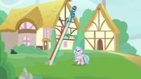 Rainbow Dash zooms back into the sky S9E3
