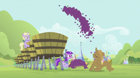Rarity launching grapes into the vat S2E05
