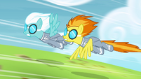 Spitfire and Fleetfoot speeding down the track S4E10