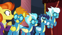 The Wonderbolts and Stormy Flare listening S5E15
