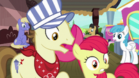 Apple Bloom and ponies witness Scootaloo's crash S8E6