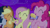 Applejack, Fluttershy, and Pinkie cheer for Trixie S6E6